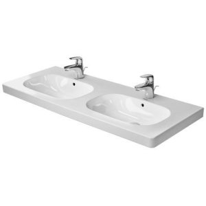 D-code Double Furniture Washbasin 1 Faucet Hole Punched