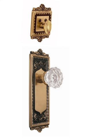 Nostalgic - Handleset Interior Half - Egg and Dart Plate with Crystal Knob in Antique Brass Product Image