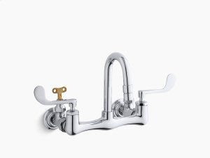 Polished Chrome Shelf-back Double Wristblade Lever Handle Sink Faucet With Loose-key Stops Product Image