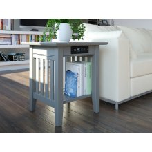 Mission End Table with Charger Atlantic Grey
