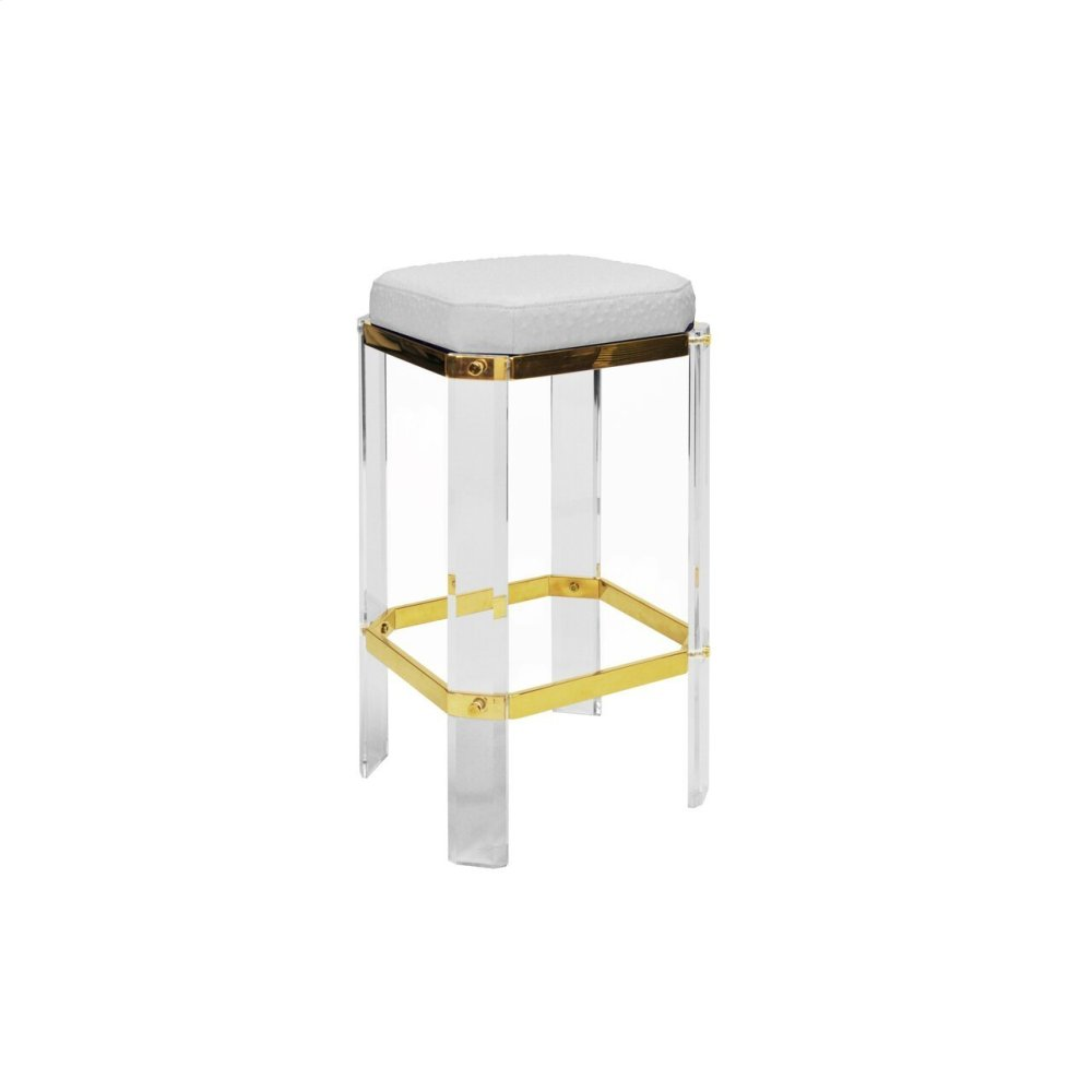 Acrylic Counter Stool With Brass Accents & White Ostrich Cushion