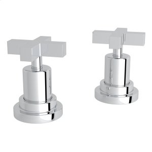 "Polished Chrome Lombardia Set Of Hot & Cold 1/2"" Sidevalves with Cross Handle Product Image"