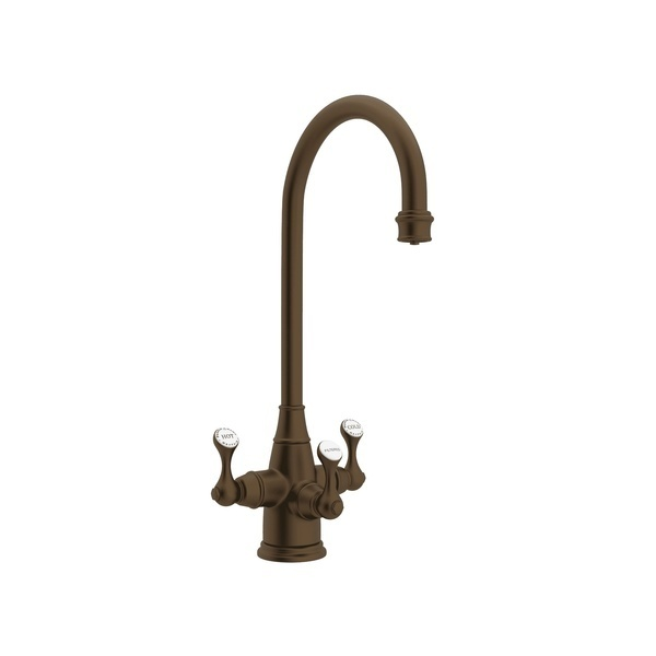 English Bronze Perrin & Rowe Georgian Era Filtration 3-Lever Bar/Food Prep Faucet with Etruscan Metal Lever