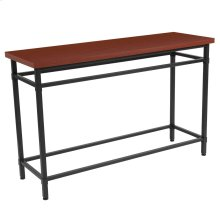 Norway Cherry Inlaid Wood Grain Finish Console Table with Black Metal Legs