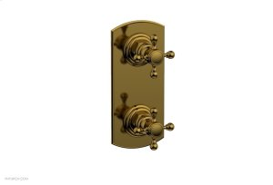 "HEX TRADITIONAL 1/2"" Thermostatic Valve with Volume Control or Diverter Cross Handles 4-099 - French Brass Product Image"