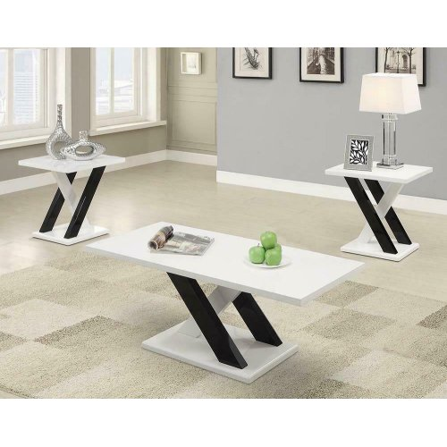 Contemporary White Three-piece Table Set