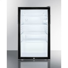 "20"" Wide Glass Door All-refrigerator for Freestanding Use, Auto Defrost With A Lock and Black Cabinet"