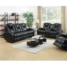 Zimmerman Black Faux Leather Power Motion Two-piece Living Room Set