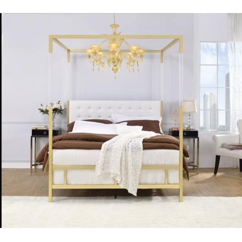 RAEGAN WHITE PU QUEEN BED