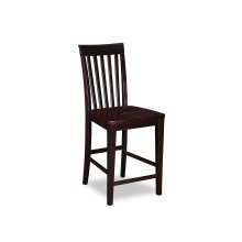 Mission Pub Chairs Set of 2 with Wood Seat in Espresso