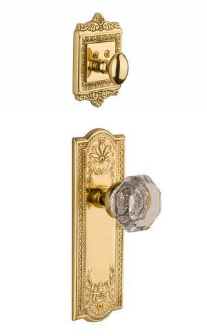 Nostalgic - Handleset Interior Half - Meadows Plate with Waldorf Knob in Polished Brass Product Image