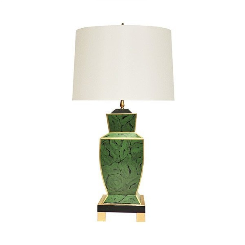 Hand Painted Urn Shape Tole Table Lamp In Malachite