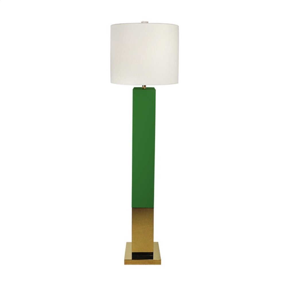 Green Lacquer Floor Lamp With Brass Base and White Drum Shade. Uses One 60w Bulb.