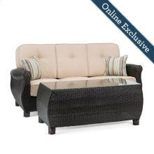 Breckenridge Outdoor Sofa with Pillows and Coffee Table Set, Natural Tan