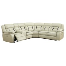 Leo Two-Tone Leather Gel Cream & Brown Reclining Sectional