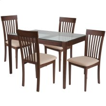 5 Piece Walnut Wood Dining Table Set with Glass Top and Rail Back Wood Dining Chairs - Padded Seats