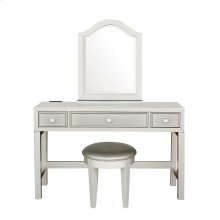 Kids 3 Drawer Vanity and Upholstered Stool Set in Matte Silver