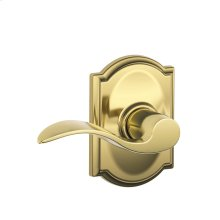 Accent Lever with Camelot trim Hall & Closet Lock - Bright Brass