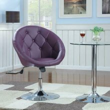 Transitional Purple and Chrome Swivel Chair