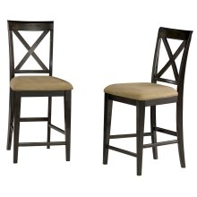Lexi Pub Chairs Set of 2 with Cappuccino Cushion in Espresso