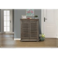 "34"" Console w/2 push doors, Mango wood, gray finish"