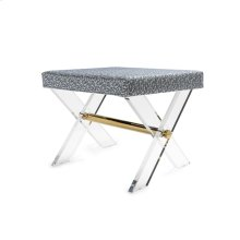 Acrylic X Base Stool With Brass Stretcher and P01 Fabric