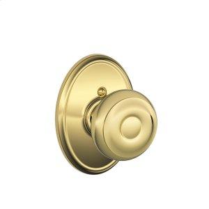 Georgian Knob with Wakefield trim Non-turning Lock - Bright Brass Product Image