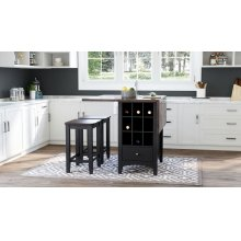Asbury Park Counter Drop Leaf Table W/2 Backless Stools - Black/autumn