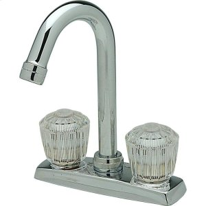 """Elkay 4"""" Centerset Deck Mount Faucet with Gooseneck Spout and Clear Crystalac Handles Chrome Product Image"""
