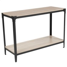 Sonoma Oak Wood Finish Console Table with Black Metal Legs