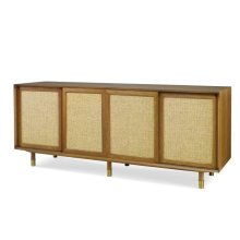 Harvey Media Console With Raffia Door Trim