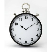 This steel and aluminum wall clock's design is reminiscent of a traditional pocket watch. The analog numbers are easily legible from any distance. Its black framing gives this transitional piece a look of traditional elegance that blends well with any d