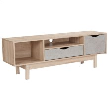 TV Stand in Oak Wood Grain Finish with Gray Drawers