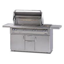 "56"" Deluxe grill on refrigerated cart with Sear Zone"