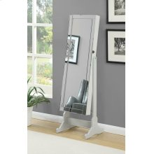 Transitional Dove Grey Cheval Mirror Armoire