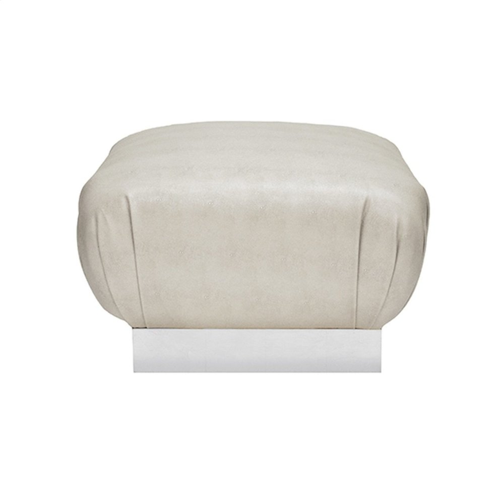 Faux Shagreen Beige Ottoman With Silver Leaf Base - Each Dye Lot May Vary Slightly In Color