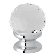 "Polished Chrome Italian Bath Crystal 1 3/16"" Pull Knob"