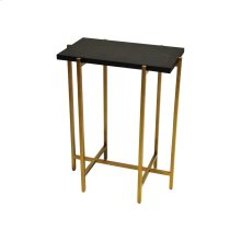 Antique Brass Side Table With Black Faux Shagreen Rectangle Top