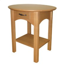 Round End Table with Drawer & Shelf
