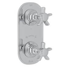 "Polished Chrome San Giovanni Trim For 1/2"" Thermostatic/Diverter Control Rough Valve with Five Spoke Cross Handle"