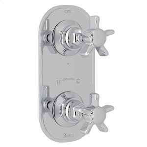 """Polished Chrome San Giovanni Trim For 1/2"""" Thermostatic/Diverter Control Rough Valve with Five Spoke Cross Handle Product Image"""
