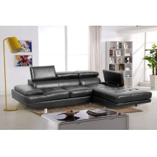 Madison Black Leather RAF Chaise