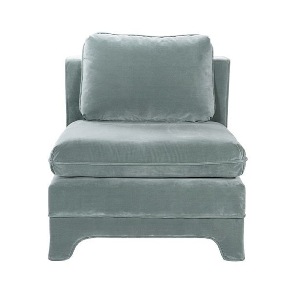 Slipper Chair In Seafoam Velvet