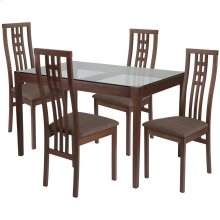 5 Piece Walnut Wood Dining Table Set with Glass Top and High Triple Window Pane Back Wood Dining Chairs - Padded Seats