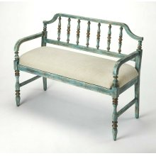 Let guests kick off their shoes in the entryway with this delightful hand painted, spindled back, bench. Featuring a weathered blue finish, crafted with Rubberwood, Plywood, a comfortable foam and cotton seat, this is an effortless update to your seating