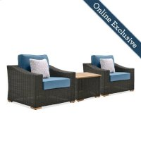 New Boston 3 Piece Wicker Patio Conversation Set Product Image