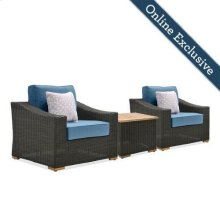 New Boston 3 Piece Wicker Patio Conversation Set