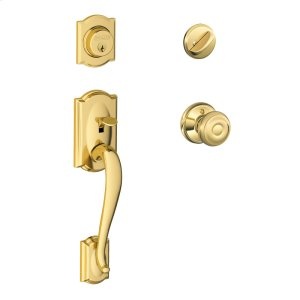 Camelot Single Cylinder Handleset and Georgian Knob - Bright Brass Product Image