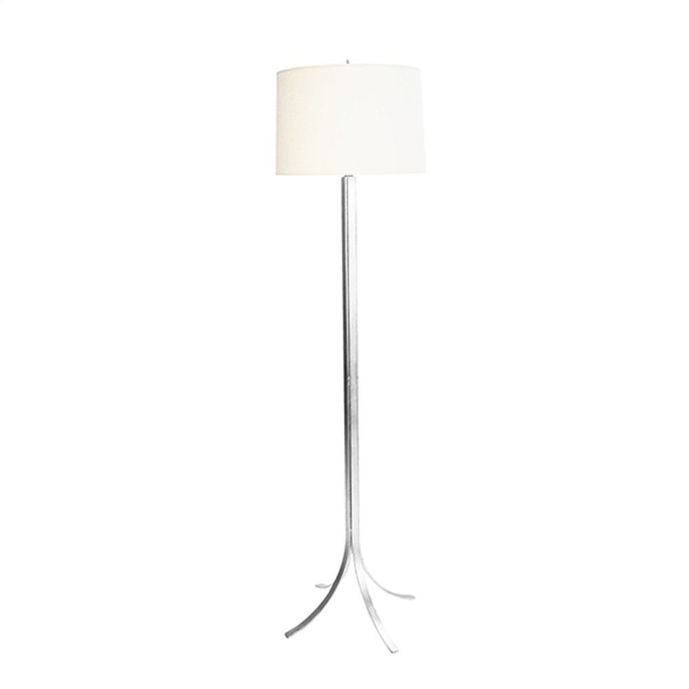 Modern Iron Floor Lamp With Silver Leaf Finish