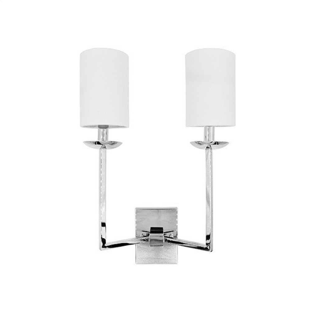 Two Arm Sconce With White Linen Shade In Nickel